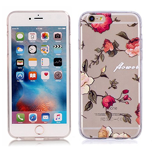 iPhone 6S 6 Hülle, E-Unicorn Handyhülle Apple iPhone 6S 6 Hülle Transparent mit Muster Blumen Rose Silikon Durchsichtig Tasche Ultra Slim Dünn TPU Bumper Schutzhülle Stoßfest Hochwertigem Zubehör Set Etui Schale Back Case Cover Rückseite (Apple-muster)