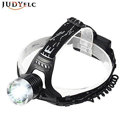 JUDYelc LED Stirnlampe Wasserdicht LED Kopflampe 6000 Lumen Effekt Reichweite 400-500 Meter 4 Modi Helle Helm Licht für Camping Laufen Wandern und Lesen (Black-T15)