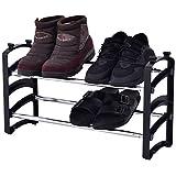FDS Costway Schuhregal mit Griff Schuhablage Schuhständer Schuhschrank Metall 2 Etagen stapelbar und Ausziehbar