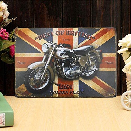 JJOnlinestore-Placa metálica para la pared con diseño retro vintage shabby chic café Cafe cocina salón bar pub casa vida tamaño decoración-20x 30cm-8'x 12', metal, Varios Colores, Union Jack Motorcycle