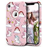 Prologfer Coque iPhone XR Licorne Coque de Protection en Hard PC Dur Coque iPhone XR Housse Etui Anti Choc Souple TPU Bumper Antichoc Rigide Resistante Coque iPhone XR Licorne