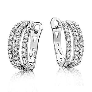 Miore Ohrringe Damen Creolen  Weißgold 18 Karat / 750 Gold  Diamant Brillianten 0.60 ct