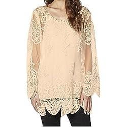 Mujer Encaje Camisas Blusa de Mangas Largas de Gasa Vintage Camiseta de fiesta 3XL Pink