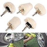 5 rotelle per lucidatura in flanella bianca con manico da 6,35 mm per smerigliatrice