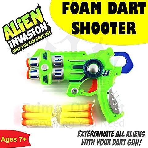 FOAM DART SHOOTER KIDS CHILDRENS TOY GUN NOVELTY WITH 6 FOAM BULLETS (Green)