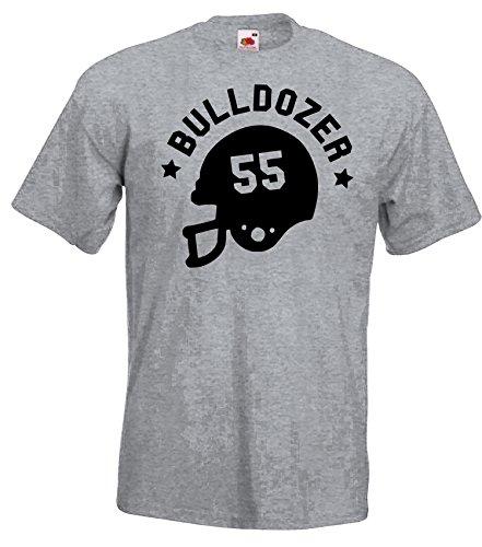 TRVPPY Herren T-Shirt Bulldozer 55 in vielen versch. Farben mit Rücken -und Brustaufdruck, Gr. S-5XL Schwarz-Grau