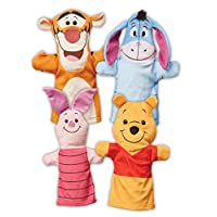 Melissa & Doug Winnie The Pooh Hand Puppets, Puppet Sets, Pooh, Piglet, Tigger, and Eeyore, Soft Plush Material, Set of 4, 14? H x 8.5? W x 2? L