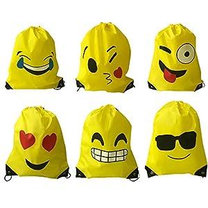 Limeo Emoji Drawstring Mochila Bolsos de Poliéster con Cordón Emoji Emoji Sports Bag Bolsa de Gimnasio Emoji Mochilas de Cordones para Niños Emoji Mochilas con Cordón de Dibujos Animados