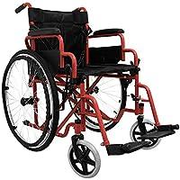 medicalpharm® carrito silla de ruedas autopropulsable, silla de ruedas Cochecito Ruedas para mayores y discapacitados, Compartimento de almacenamiento, silla con Plataforma y Asiento lavable, modelo B Rojo