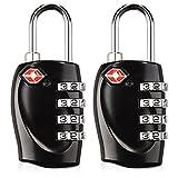 kwmobile Cadenas à Code - Lot 2 Cadenas de Valise homologué TSA - Serrure de sécurité avec Combinaison 4 Chiffres Bagage Sac de Voyage - Noir