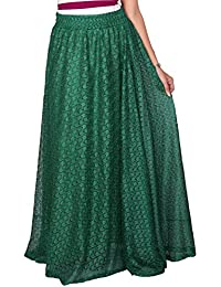 Carrel Net Printed Women Long Skirt(AGSPL-3716W)