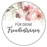 48 x Aufkleber Hochzeit Freudentränen Gast Blumenmeer Gastgeschenk Etikett
