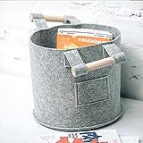 AIHOME Kaminholzkorb kleidung korb Filztasche für Kaminholz Zeitungsständer für Holz Feuerholzkorb Allzweckkorb für Brennholz Grau