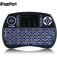 iPazzPort - Wireless Mini Keyboard Gaming Keyboard Compatible Google smart TV, Windows, Mac OS, Linux PC, Xbox 360, PS4, Android TV Box (Black)
