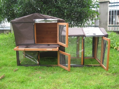 BUNNY BUSINESS The Grove Spearmint Double Decker Rabbit/ Guinea Pig Hutch and Run, and Cover 4