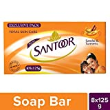 #1: Santoor Sandal and Turmeric Soap, 125g (Pack of 8)
