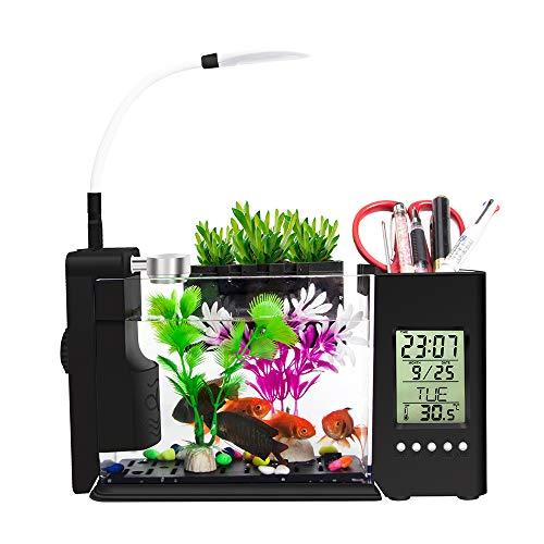 Decdeal Multifunktional Mini Aquarium mit USB LED-Beleuchtung Aquarium Komplettset für Tisch Dekoration Lileng