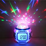 Anself LED Display Digital Music Star Sky Projection Calendar Thermometer Snooze Alarm Clock