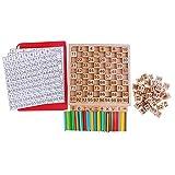Highdas 1-100 Spindeln Holz Zahlenkarten und Zählstangen, Montessori Material Sticks Mathematik Material Pädagogik für Kinder Kind