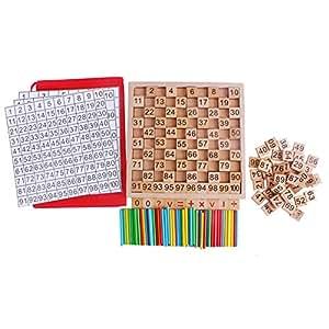 hibote 1-100 Spindles Cartes et barres de comptage en bois, Montessori Material Sticks Mathematiques Matériel Educatif