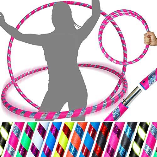 PRO Hula Hoops Reifen für Anfänger und Profis (Ultra-Grip/Glitter Deco) Faltbarer TRAVEL Hula Hoop ideal für Hoop Dance, Fitness Training, Zirkus, Festivals, Aerobic! - (UV Rosa Grip/Silber Glitter) - Hula-hoop Glitter