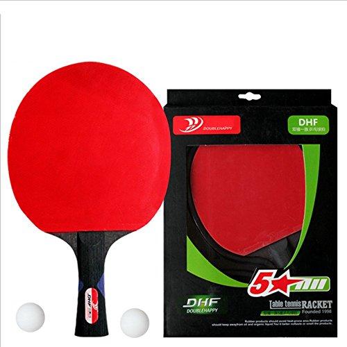 RDJM Ping Pong Paddel Set - Bester Tischtennisschläger Mit Hochleistungsgummi - Holzklinge Mit Langem Griff,1Pc
