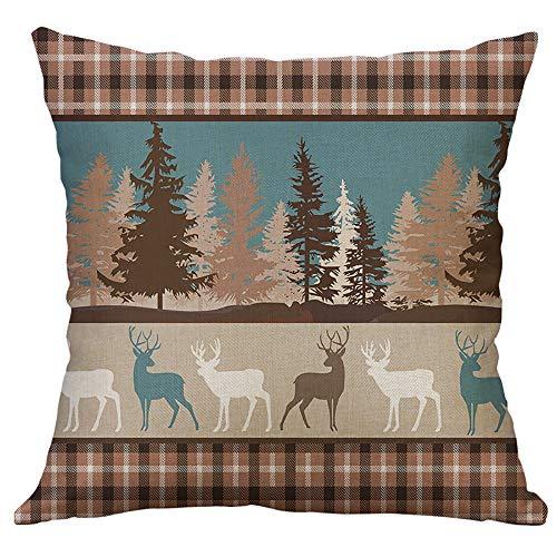 Huacat Kissenbezug Weihnachten Umarmung Kissenbezug Elch Schneeflocke Weihnachtstag Atmosphäre Sofa Kissenbezug Möbel dekorative Kissenbezug 40x40cm
