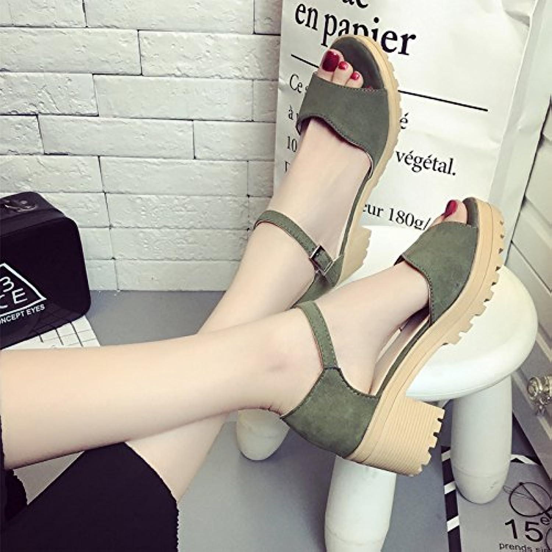 GAOLIM Sommer Studenten High-Heel Schuhe Dick Mit Freizeitaktivitäten Wild Tau-Toe Sandalen Frau Sommer Für Frauenö
