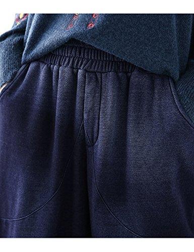 Youlee Femmes Hiver Automne Taille elastique Pantalon chaud épais Style 3 Bleu