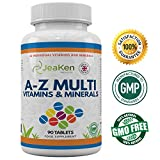 A-Z MULTIVITAMINS & MINERALS By JeaKen - 90 Tablets (Up to 3 Months Supply) Of 32 Multi Vitamins And Minerals - A-Z Multivitamins And Minerals - A-Z Multivitamins Tablets - Minerals Supplements - Vitamins For Energy And Tiredness - Supercharge Your Health - Suitable for Vegetarians - Made In UK