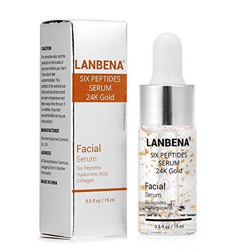 Gesichtspflege Serum, Hyaluronsäure Sechs Peptide Essenz 24K Gold für Striae Anti-Falten-Creme Anti Aging Feuchtigkeitsspendende Kollagen...