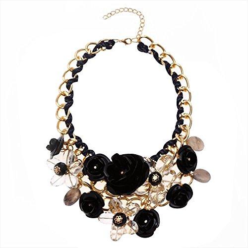 Contever® Mujer flor Colgante de Moda Artificial Cristalina Collar Gargantilla , Longitud: 45 cm - Negro