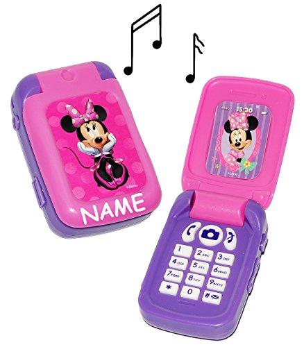 """Preisvergleich Produktbild elektrisches Handy mit SOUND - """" Disney Minnie Mouse """" - incl. Name - für Kinder / Mädchen - Auto Kinderhandy / Spielzeughandy - Spielzeugtelefon - Klapphandy Telefon - Smartphone - Lernhandy / Kindertelefon zum Aufklappen - Spielzeug Musik Melody - Flip Top - Playhouse / Maus Daisy Herzen"""