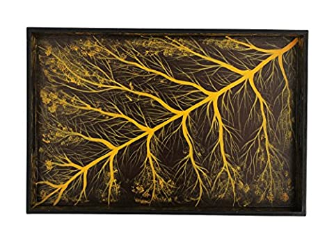 Kitchen Deals - Tree of Life Wooden Trays with Handles Tray for Dressing Table, Kitchen, Bathroom Decor Decorative Serving Tray Serve Food, Tea, Coffee Table Tray - 30.5 cm