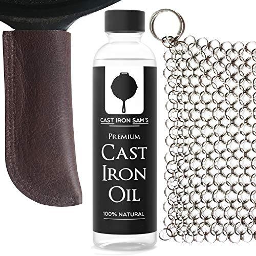 Extra dicke Top-Grain Leder Gusseisen Pfannengriffabdeckung, Edelstahl Kettenschrubber und Gusseisenöl Kit. (3-teiliges Set) -