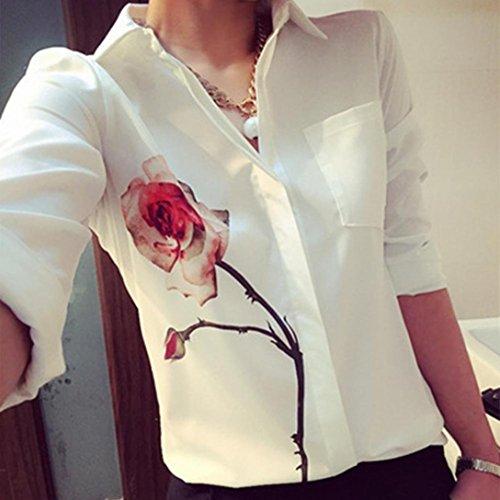 Amlaiworld Femmes chemises à manches longues Rose fleur chemisier en mousseline de soie Blanc