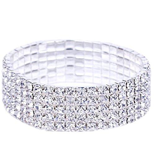 Armband Damen Armbänder DAY.LIN Elastische Stretchy 5 Row Strass Kristall Armband Armreif Braut Frauen (Kristall-braut-handtasche)