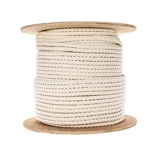 100% Twisted White Natural Cotton Rope - 5/16 inch Diameter - Multiple Lengths to Choose