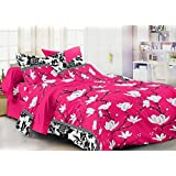 C&G 120 TC Microfiber Double Floral Bedsheet (Pack of 1, Pink)
