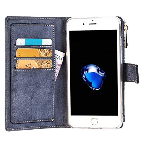 iPhone Case Cover Pour iPhone 7 Plus Style rétro Crazy Horse Texture Horizontale Flip étui en cuir avec séparable Back Cover & Zip Fermeture et carte Slot & Wallet & Boucle magnétique ( Color : Dark b Dark blue
