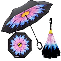 Jellybean TM Windproof Sun Rain Sky Umbrella Double Layer Upside Down Inverted Folding Handle