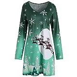KPILP Sweatkleid Frauen Abendkleider Vintage Weihnachten Blusenkleider Druck Langarm Rundhals Shirt Party Prom Minikleid(Grün,EU-40/CN-S)