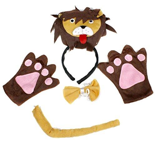 petitebelle 3D Khaki Lion Stirnband Schleife Schwanz Handschuhe Kostüm Party für Erwachsene Gr. Einheitsgröße, braun