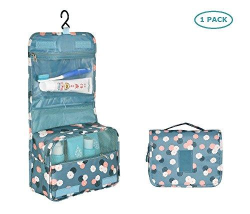 Bllomsem Tragbares Kulturbeutel Faltendes Kulturtasche Zum Aufhängen für Damen Make-up Kosmetiktasche mit Haken-Organisator-Taschen Waschtasche (Blaue Blume)
