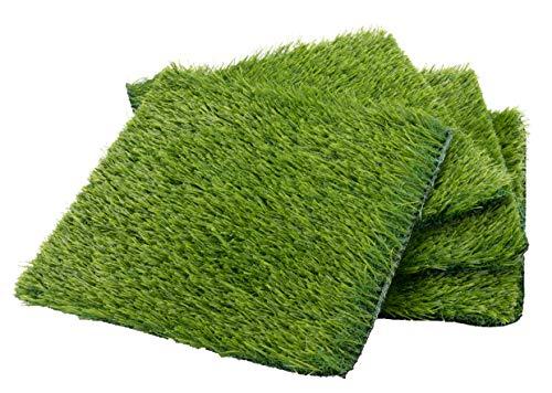 Juvale Kunstrasen - 4 Stück Kunstrasen Kunstrasen Kunstrasen Fake Gras Rasen Rasen Rasenteppich für Haustiere Garten Spielzimmer Indoor Outdoor Dekor Grün 12 x 12 x 0.75 inches grün