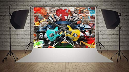 WaW Grunge Backstein Graffiti Fotobooth Hintergrund Kulisse Musikalisch Stoffhintergrund Hip-Hop 80er 90er Jahre Party Foto Requisiten -