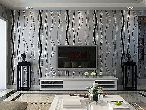 Style moderne abstrait lignes ondulées Noir ondulations 3d papier peint texturé–Gris Argenté, 33'(10m), rouleau complet