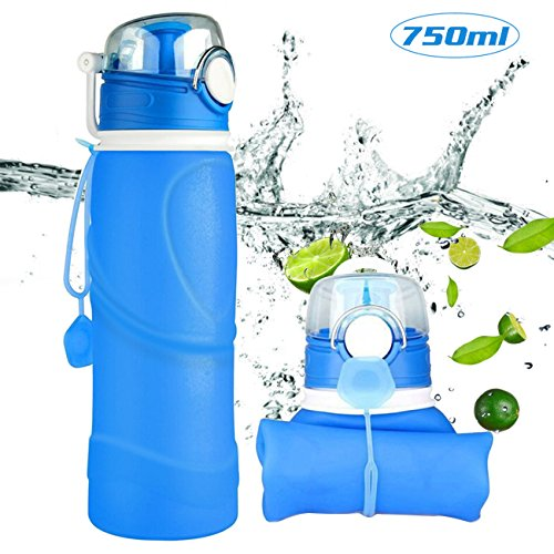 Bapack Trinkflasche–Faltbare BPA Frei Wasserflasche aus medizinische Silicone–Water Bottle 750ml - Ideale Sportflasche für Fitness, Fahrrad, Sport, Camping, Weltreisen-Blau (Eis Angeln Tipp)