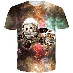 Manga Bfustyle unisex linda astronauta Panda corta impresa de las camisetas Ropa