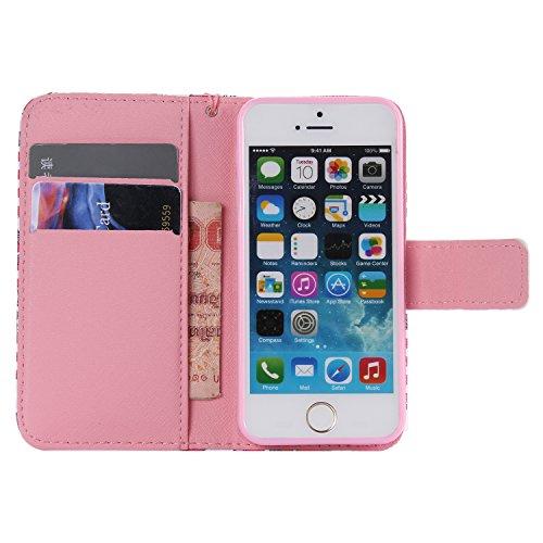 C-Super Mall-UK Apple iPhone 5 / 5S / SE-Fall, PU-Leder-Mappen-Standplatz -Schlag-Fall für Apple iPhone 5 / 5S / SE KT6031615